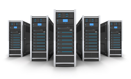 servers: Five Server high-end, view front (done in 3d) Stock Photo