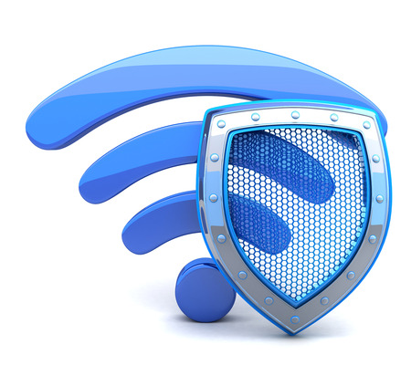 3d shield: Abstract wifi on white background (done in 3d)