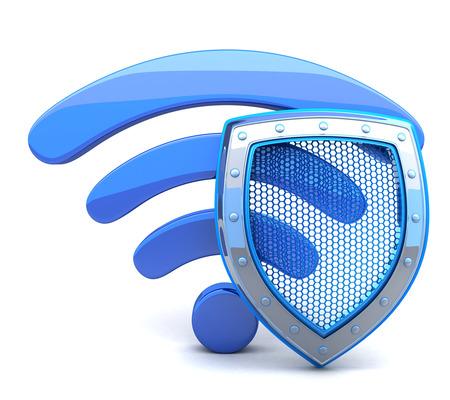 escudo: wifi abstracta sobre fondo blanco (hecho en 3d)