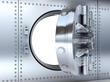 safety: Banking metallic door, vault (done 3d) Stock Photo