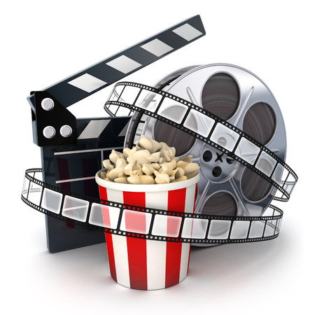movie: Film and clipboard symbol (done in 3d) Stock Photo
