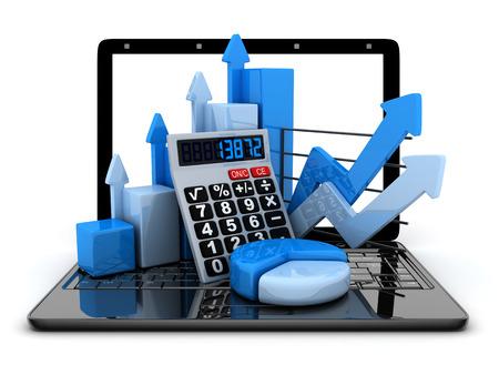 contabilidad: Ordenador portátil y el diagrama (hecho en 3d, fondo blanco)