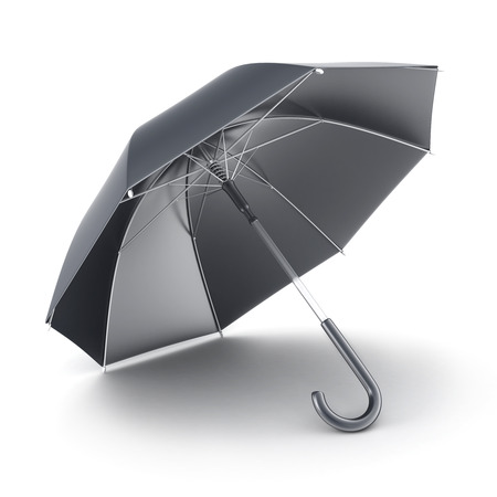 and only: Only one black umbrella (done in 3d, on white background) Stock Photo