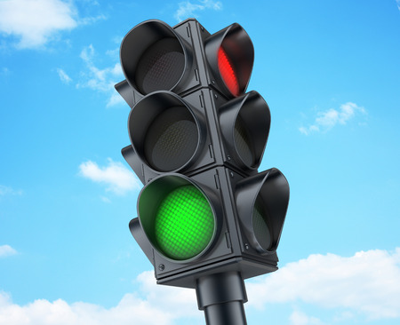 signals: Traffic lights on sky background (done in 3d)