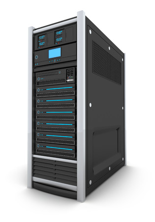 rack: server high-end only (done in 3d, isolated) Stock Photo