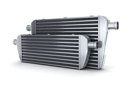 engine parts: Car intercooler (done in 3d, on white background)
