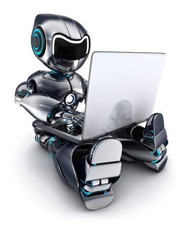 ロボット (3 d で行われる) のラップトップに取り組んで
