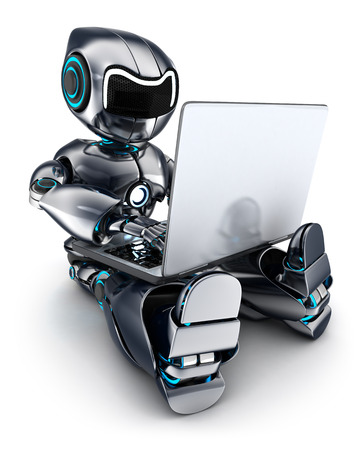 robot: Robot working on laptop (done in 3d)