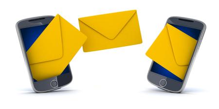 telegrama: Dos smartphone y sms (hecho en 3d, sobre fondo blanco) Foto de archivo