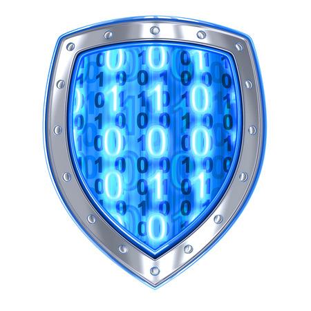 escudo: Escudo y el c�digo binario (hecho en 3d, aislada)