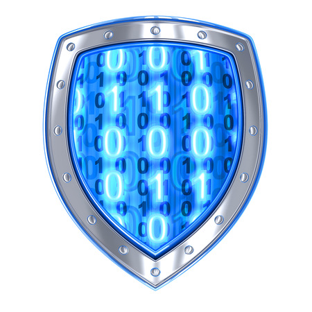 3d shield: Shield and binary code (done in 3d, isolated) Stock Photo