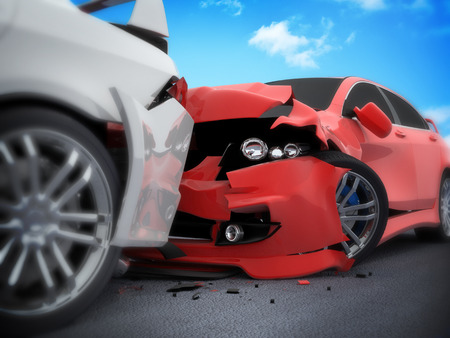 automobile insurance: Car crash on white background (done in 3d) Stock Photo