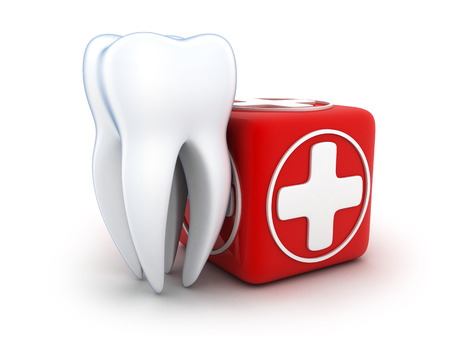 muela: Tooth and Medicine chest on white background (done in 3d)