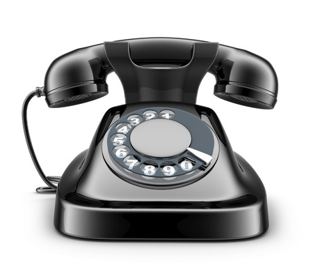 dialplate: Black old telephone on white background(done in 3d)