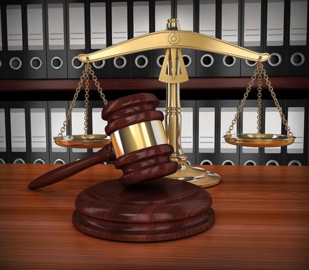 justicia: escalas de oro y martillo (fondo, hecho en 3d)