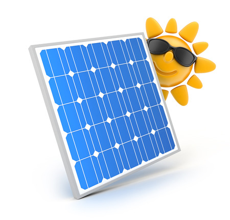 solar array: Modern Solar panel on white background and sun (done in 3d)