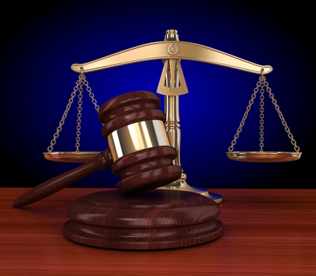 verdicts: gold scales and gavel (background , done in 3d) Stock Photo