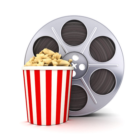 icon 3d: Film and popcorn symbol (done in 3d)