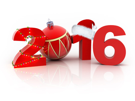 newyear: Abstract new year 2016 (done in 3d, white background)