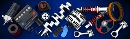 Many auto parts (done in 3d) Archivio Fotografico