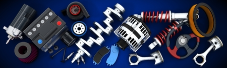 Many auto parts (done in 3d) Standard-Bild