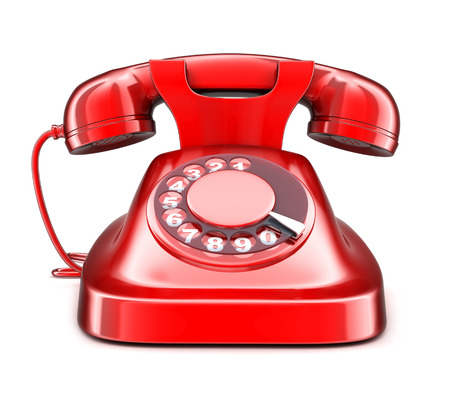 Red old telephone on white background(done in 3d) Banque d'images