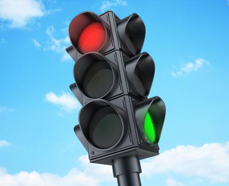 交通: (3 d で行います) 空の背景の交通信号