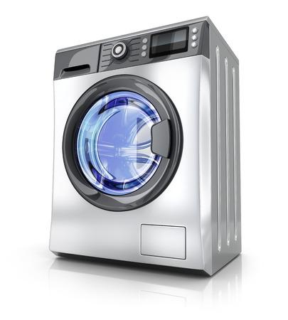 lavadora con ropa: lavadora moderna sobre fondo blanco (hecho en 3d)
