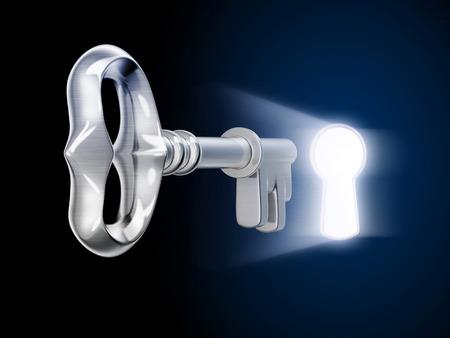 llaves: llave y keyholy (hecho 3d) Foto de archivo