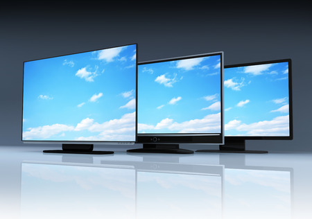 tft: Three modern TV and sky (done in 3d) Stock Photo