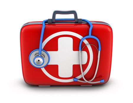 urgencias medicas: botiquín de primeros auxilios en el fondo blanco (hecho en 3d)