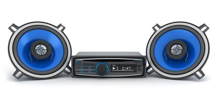 musica electronica: Coche sistema de audio (hecho en 3d, sobre fondo blanco)