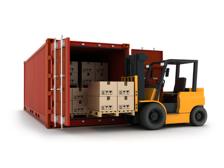 lading: Loading red cargo Container (done in 3d) Stock Photo