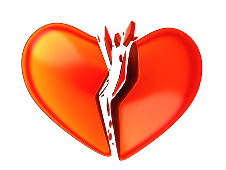 rupture: Abstract brocken heart, on white background (done in 3d)