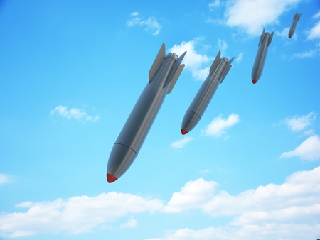 nuclear bomb: Aerial bomb and sky (done in 3d)