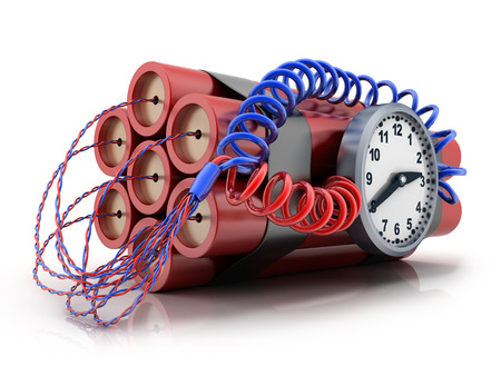 bombshell: TNT and clock on white background (done in 3d) Stock Photo