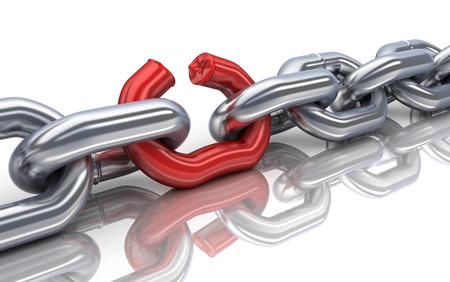cadena rota: cadena de mal rojo (hecho en 3d)
