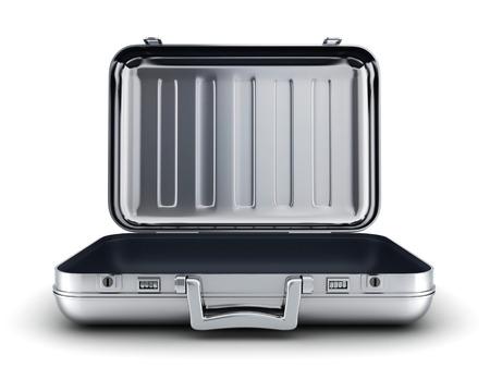 maleta: vaina vacía y abierta de acero (hecho en 3d, cgi)