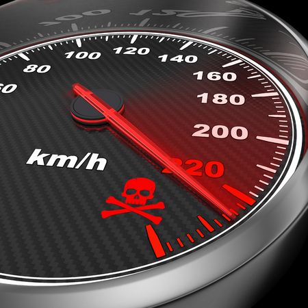 3d carbon: Speedometer and arrow on 220 (done in 3d) Stock Photo