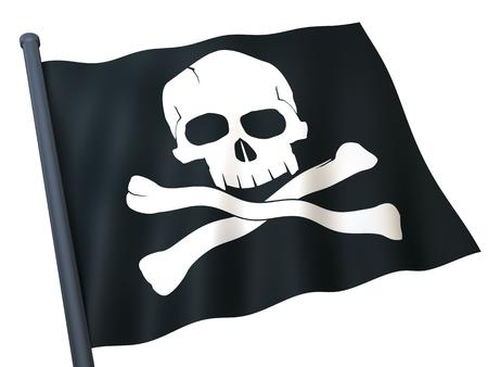 drapeau pirate: Crâne et os croisés sur blag drapeau (fond blanc) Banque d'images