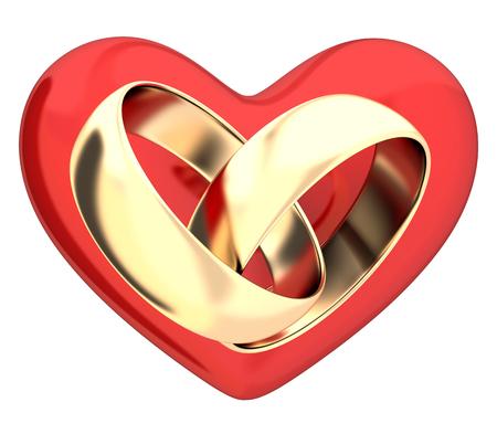 anillo de boda: Anillos de boda y corazones (hecho en 3d)