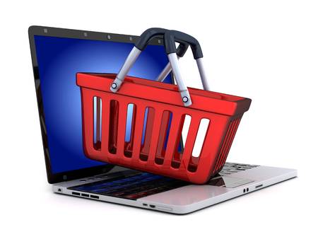 eshop: Laptop and abstract e-shop (done in 3d) Stock Photo