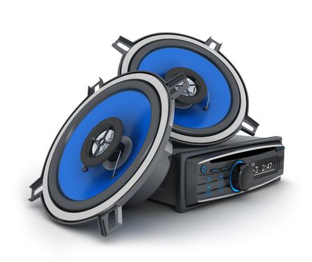 Audio system car 3d illustration