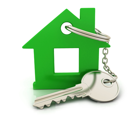 Abstract home and key (done in 3d) Stock Photo