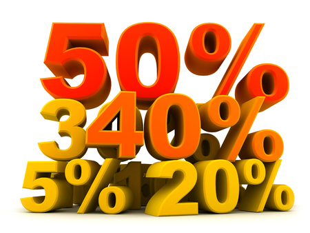 sell out: Symbol discount, various percents (done in 3d) Stock Photo