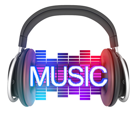 Sybol music and headphone isolated view front (done in 3d) Stock Photo