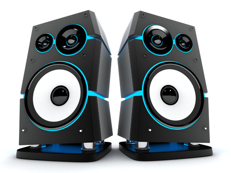 hi fi: Speakers box modern on a white background (done in 3d)
