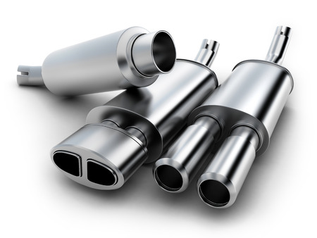 exhaust pipe: exhaust pipe on isolated background (done in 3d)