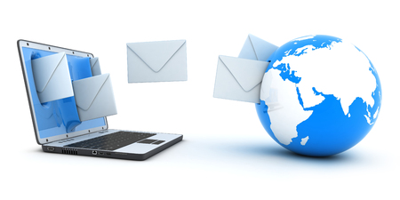 consignor: Laptop and fly envelopes (done in 3d) Stock Photo