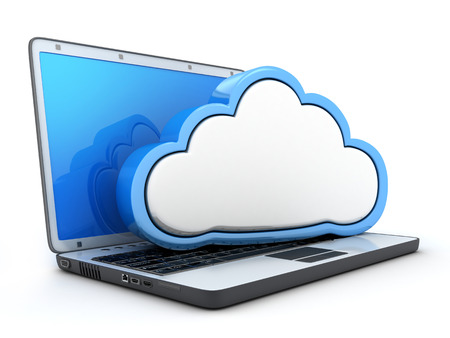 Laptop and storage cloud on white background (done in 3d)